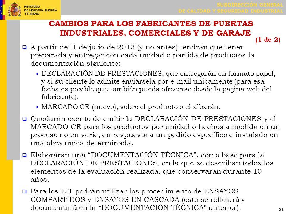 CAMBIOS PARA LOS FABRICANTES DE PUERTAS INDUSTRIALES, COMERCIALES Y DE GARAJE