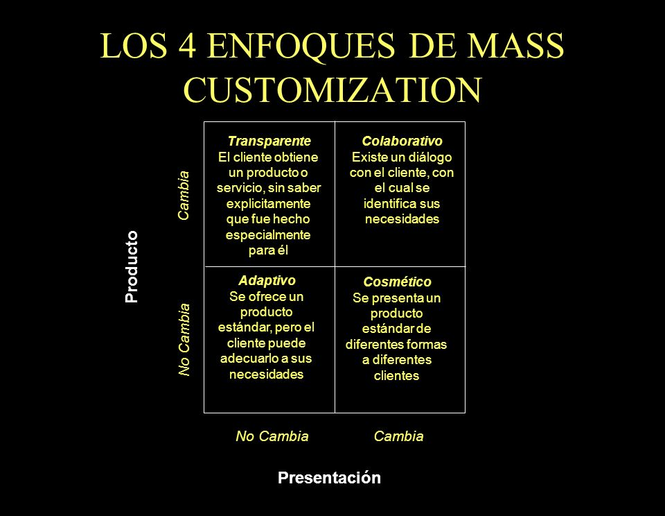 LOS 4 ENFOQUES DE MASS CUSTOMIZATION