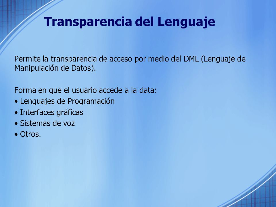 Transparencia del Lenguaje