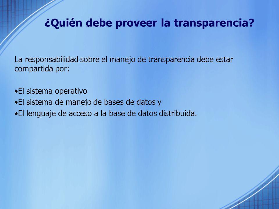 ¿Quién debe proveer la transparencia