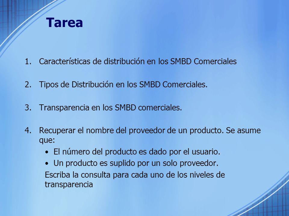 Tarea Características de distribución en los SMBD Comerciales