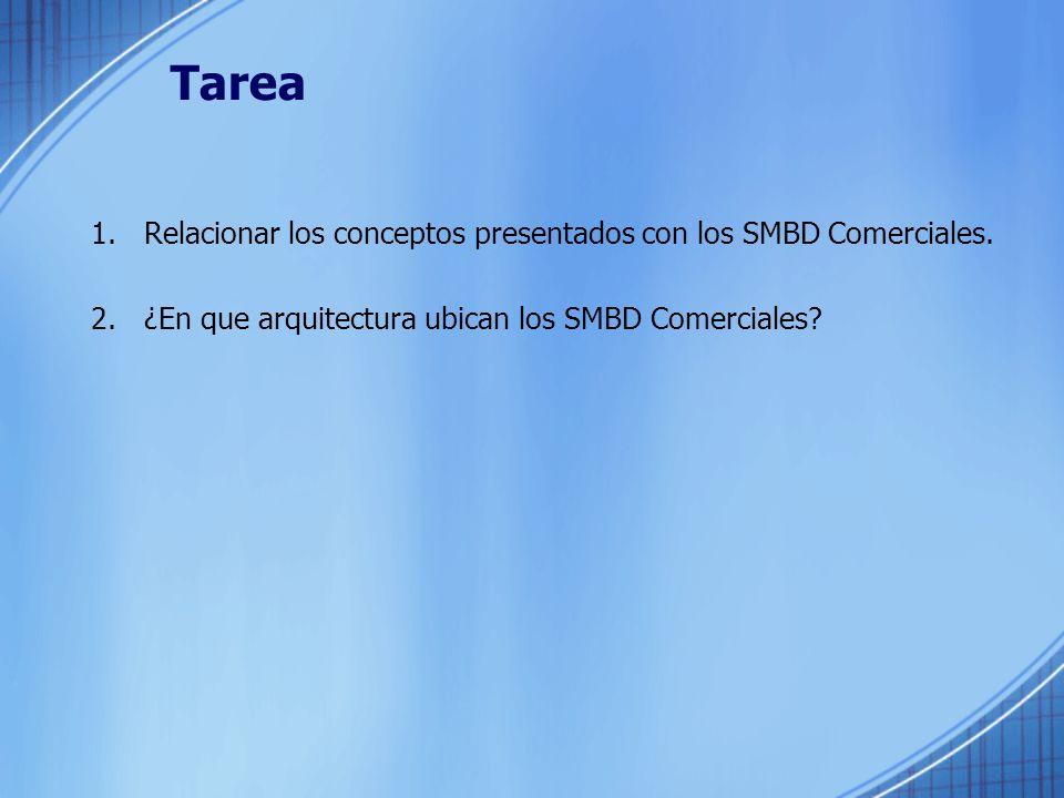 Tarea Relacionar los conceptos presentados con los SMBD Comerciales.