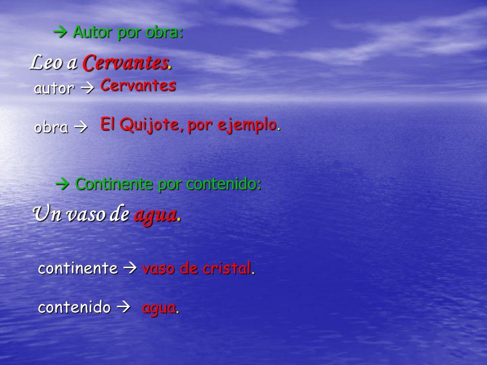 Leo a Cervantes. Un vaso de agua.  Autor por obra: Cervantes