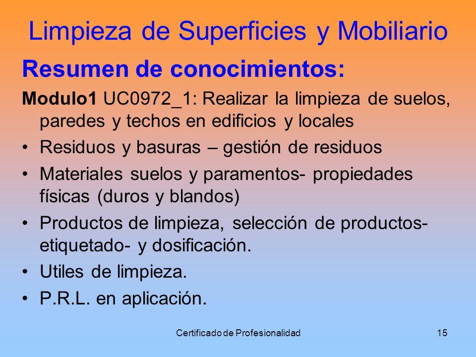 Limpieza de Superficies y Mobiliario