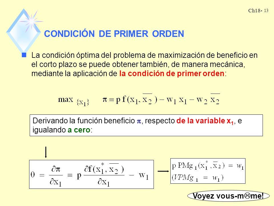 CONDICIÓN DE PRIMER ORDEN
