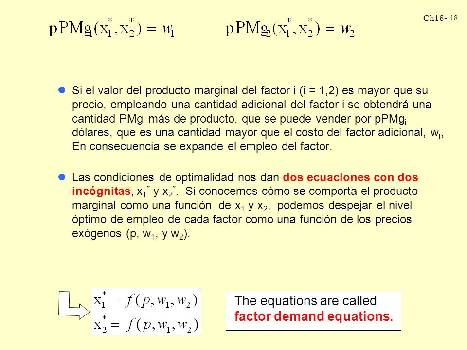 The equations are called factor demand equations.