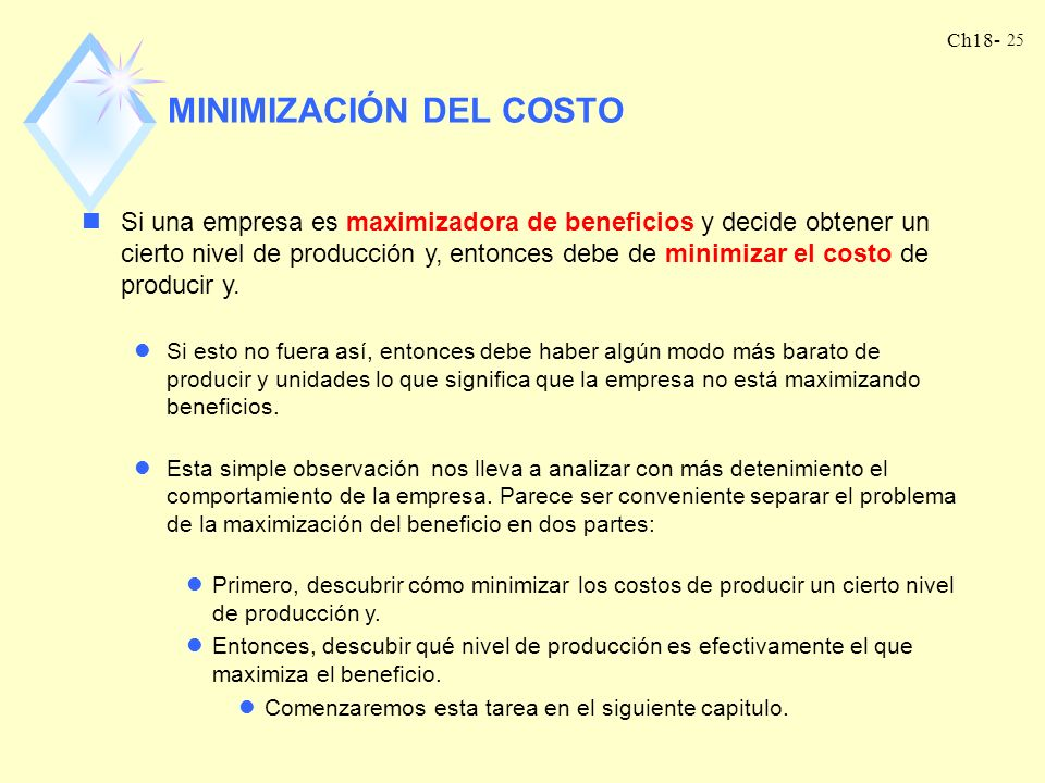 MINIMIZACIÓN DEL COSTO