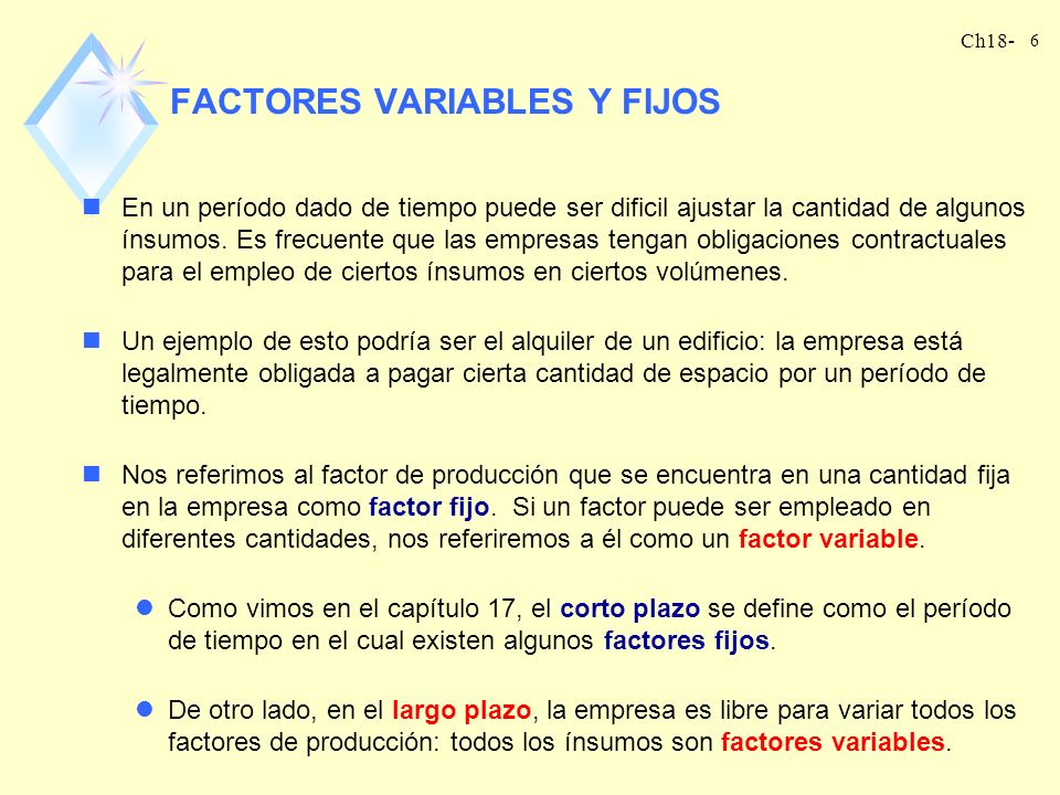 FACTORES VARIABLES Y FIJOS