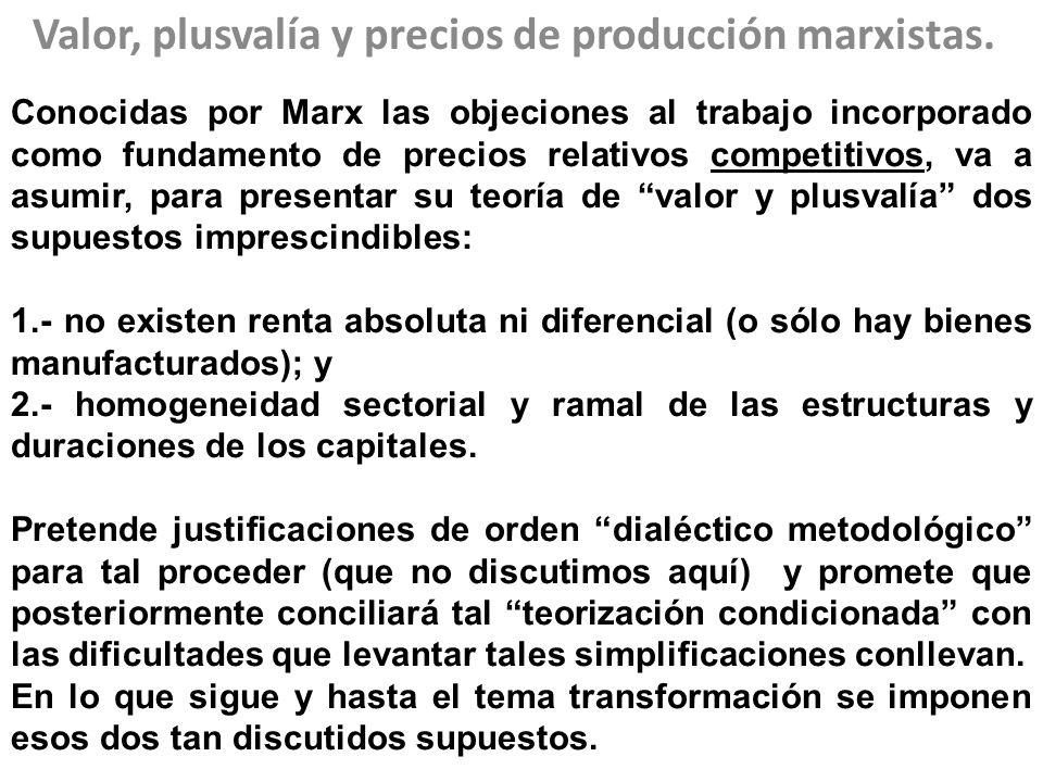 Valor, plusvalía y precios de producción marxistas.