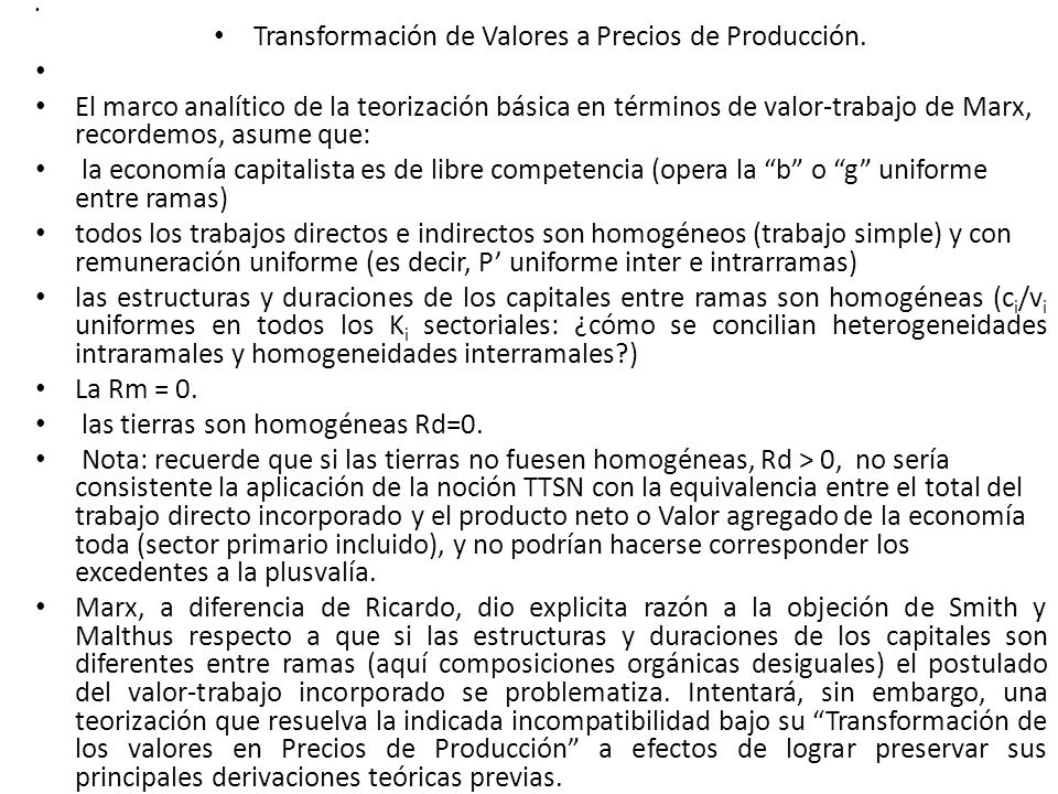 Transformación de Valores a Precios de Producción.