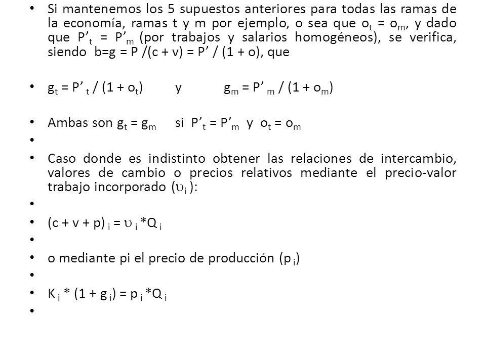 Si mantenemos los 5 supuestos anteriores para todas las ramas de la economía, ramas t y m por ejemplo, o sea que ot = om, y dado que P't = P'm (por trabajos y salarios homogéneos), se verifica, siendo b=g = P /(c + v) = P' / (1 + o), que
