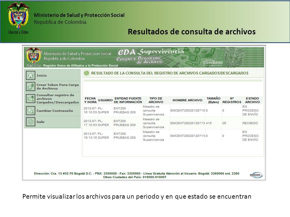 Resultados de consulta de archivos