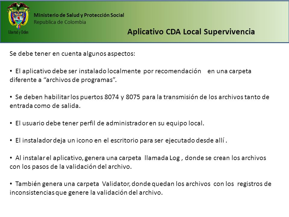 Aplicativo CDA Local Supervivencia