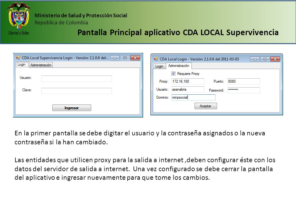 Pantalla Principal aplicativo CDA LOCAL Supervivencia