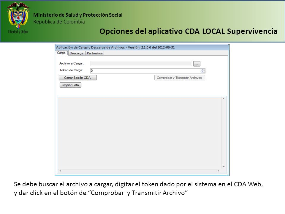 Opciones del aplicativo CDA LOCAL Supervivencia
