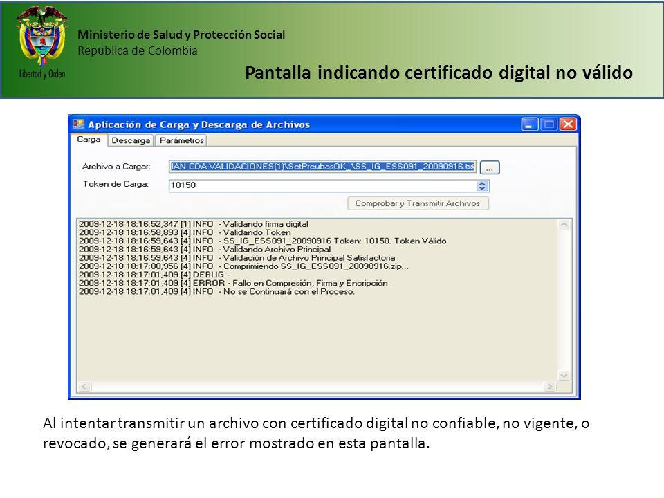 Pantalla indicando certificado digital no válido