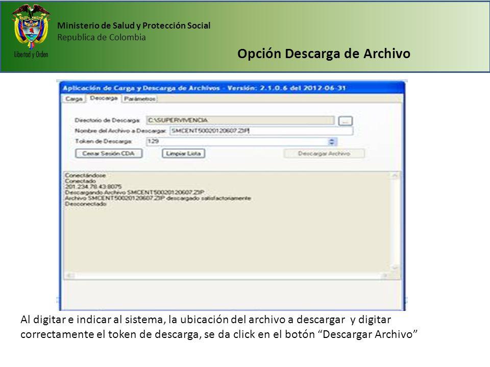 Opción Descarga de Archivo