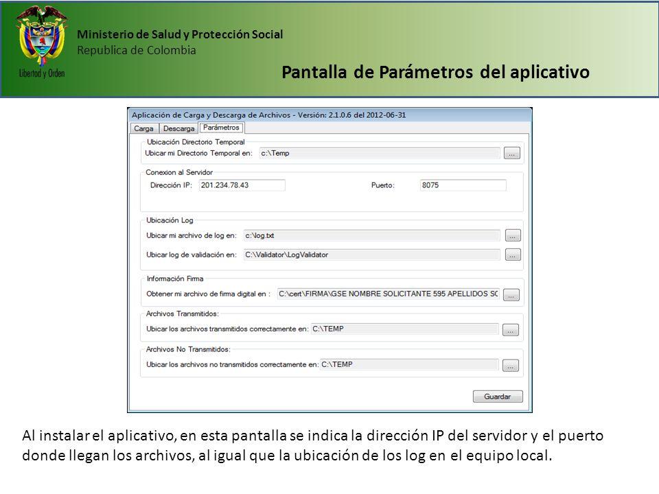 Pantalla de Parámetros del aplicativo