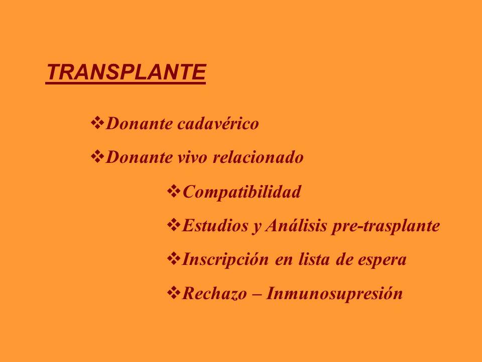 TRANSPLANTE Donante cadavérico Donante vivo relacionado Compatibilidad