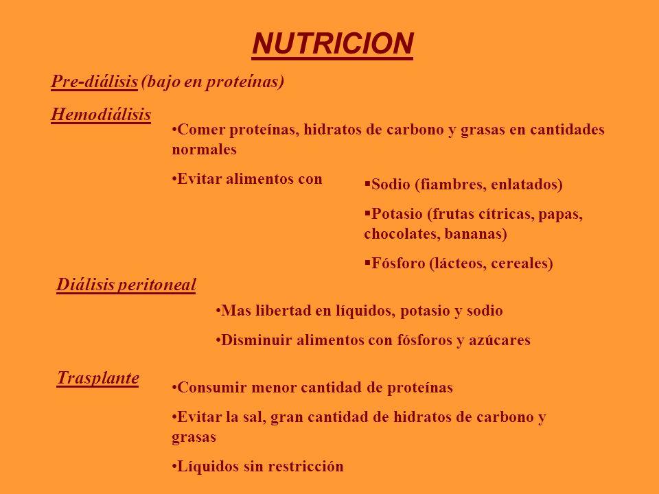NUTRICION Pre-diálisis (bajo en proteínas) Hemodiálisis