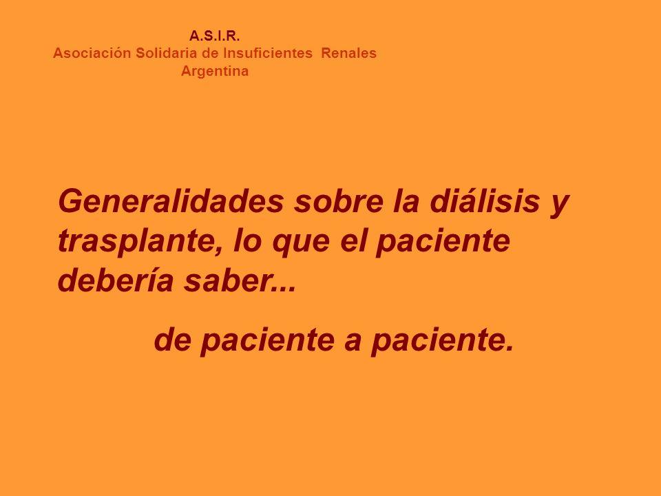 A.S.I.R. Asociación Solidaria de Insuficientes Renales Argentina