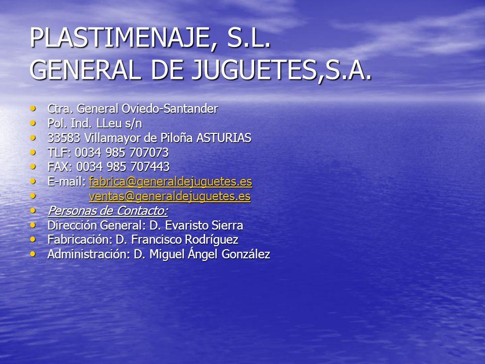 PLASTIMENAJE, S.L. GENERAL DE JUGUETES,S.A.