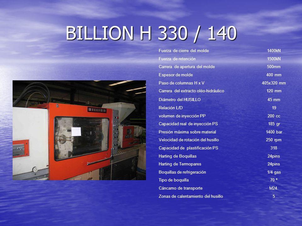 BILLION H 330 / 140 Fuerza de cierre del molde 1400kN