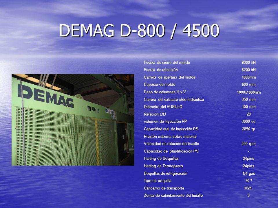 DEMAG D-800 / 4500 Fuerza de cierre del molde 8000 kN
