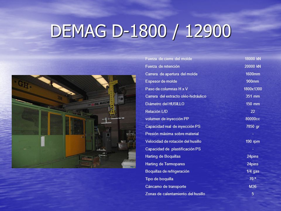 DEMAG D-1800 / 12900 Fuerza de cierre del molde 18000 kN