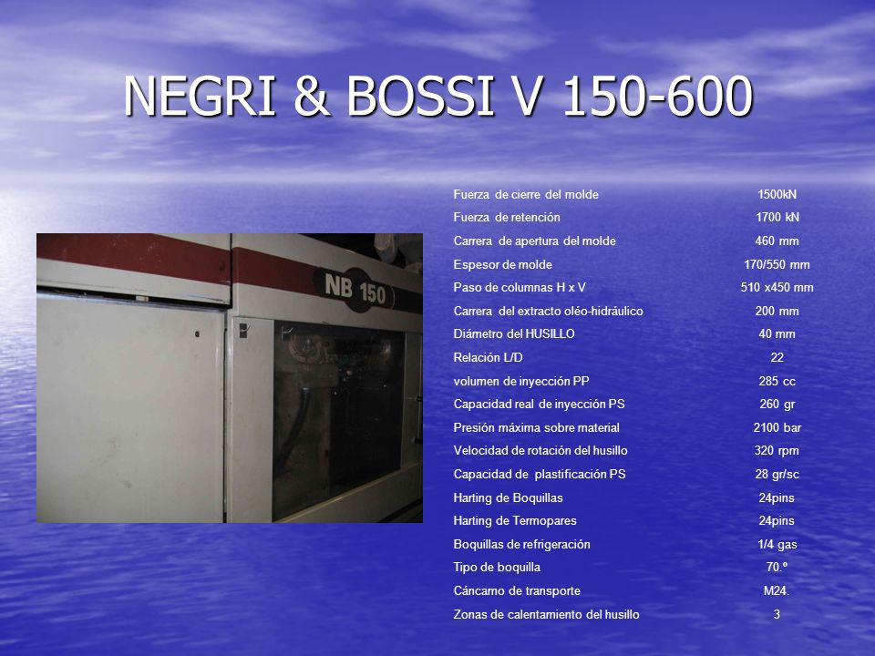 NEGRI & BOSSI V 150-600 Fuerza de cierre del molde 1500kN