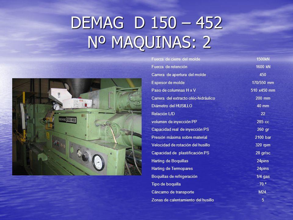 DEMAG D 150 – 452 Nº MAQUINAS: 2 Fuerza de cierre del molde 1500kN