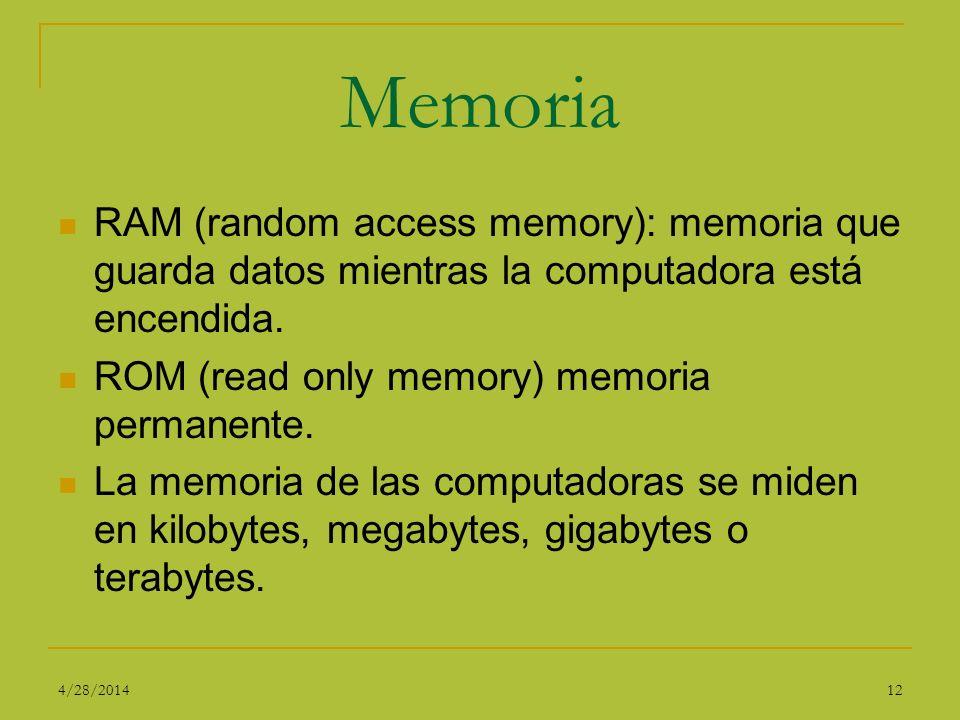 Memoria RAM (random access memory): memoria que guarda datos mientras la computadora está encendida.