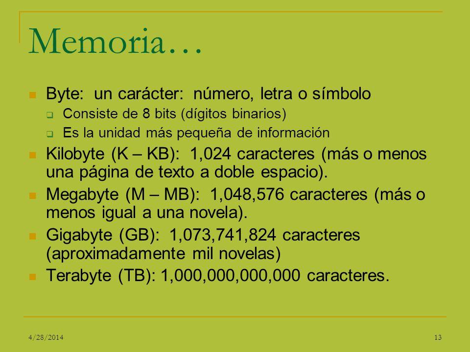 Memoria… Byte: un carácter: número, letra o símbolo