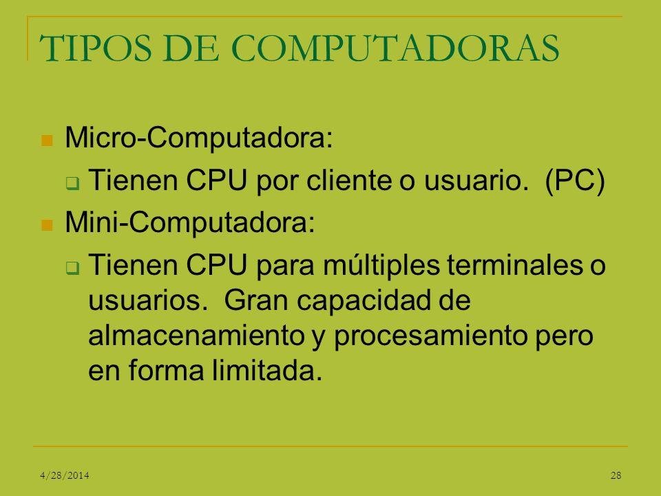 TIPOS DE COMPUTADORAS Micro-Computadora: