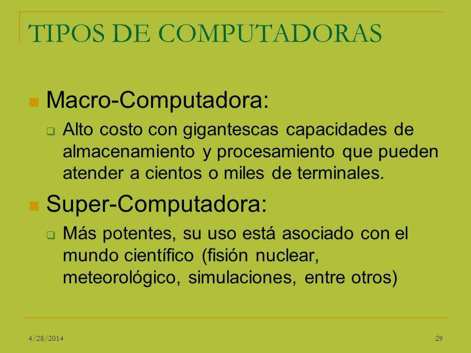 TIPOS DE COMPUTADORAS Macro-Computadora: Super-Computadora:
