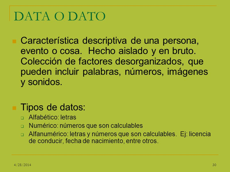 DATA O DATO