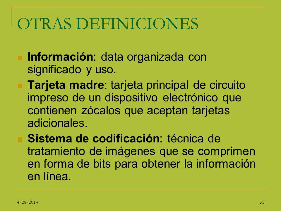 OTRAS DEFINICIONES Información: data organizada con significado y uso.