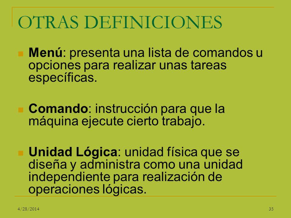 OTRAS DEFINICIONES Menú: presenta una lista de comandos u opciones para realizar unas tareas específicas.