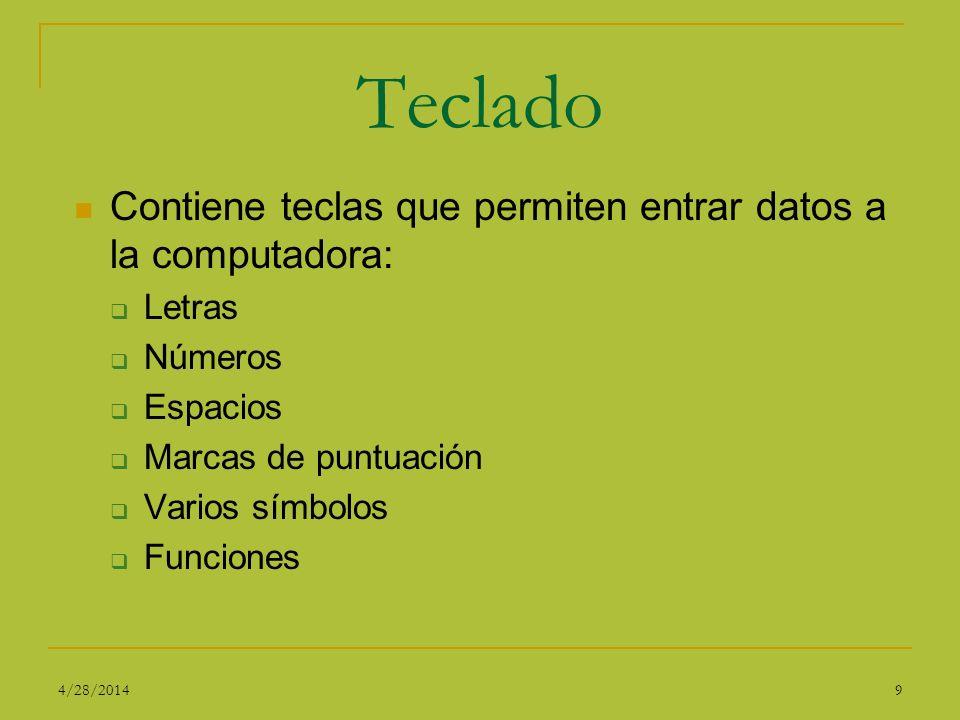 Teclado Contiene teclas que permiten entrar datos a la computadora: