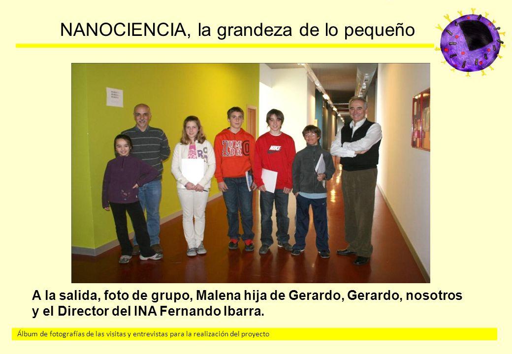 A la salida, foto de grupo, Malena hija de Gerardo, Gerardo, nosotros y el Director del INA Fernando Ibarra.