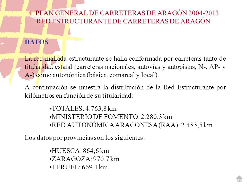 4. PLAN GENERAL DE CARRETERAS DE ARAGÓN 2004-2013 RED ESTRUCTURANTE DE CARRETERAS DE ARAGÓN