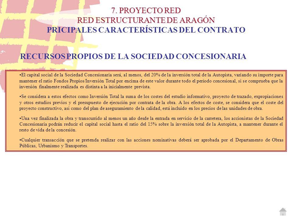RECURSOS PROPIOS DE LA SOCIEDAD CONCESIONARIA