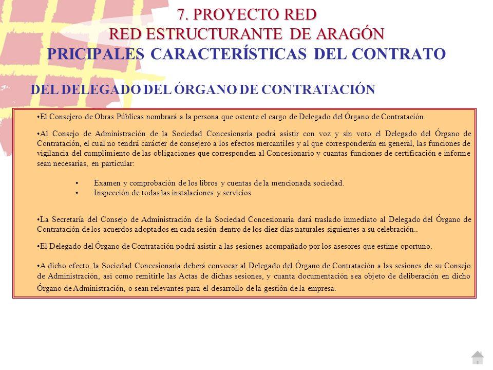 7. PROYECTO RED RED ESTRUCTURANTE DE ARAGÓN PRICIPALES CARACTERÍSTICAS DEL CONTRATO