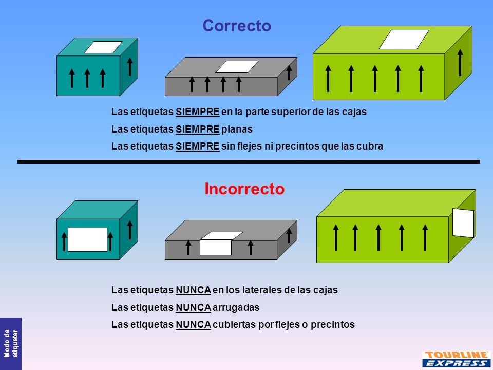 Correcto Las etiquetas SIEMPRE en la parte superior de las cajas. Las etiquetas SIEMPRE planas.