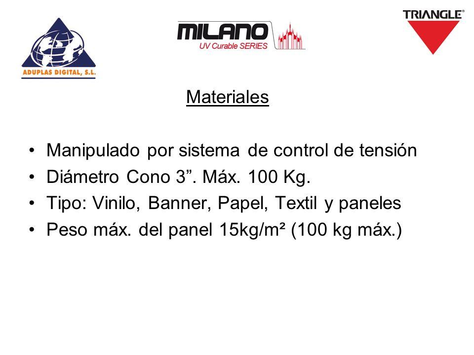 Materiales Manipulado por sistema de control de tensión. Diámetro Cono 3 . Máx. 100 Kg. Tipo: Vinilo, Banner, Papel, Textil y paneles.