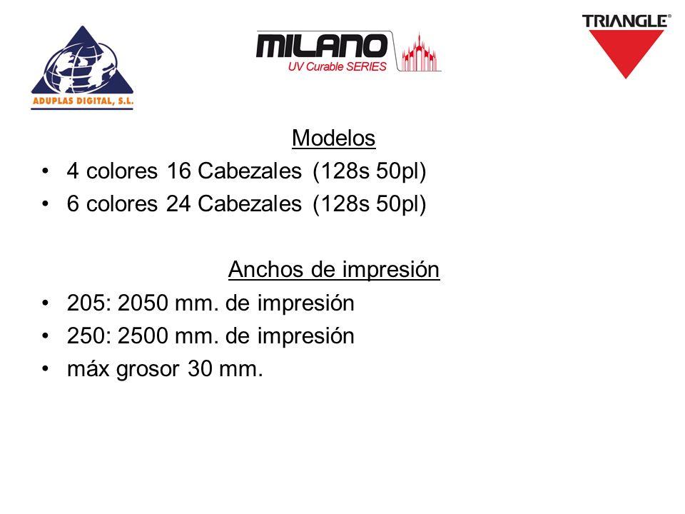 Modelos 4 colores 16 Cabezales (128s 50pl) 6 colores 24 Cabezales (128s 50pl) Anchos de impresión.