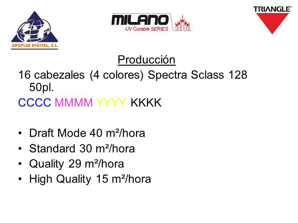 Producción 16 cabezales (4 colores) Spectra Sclass 128 50pl. CCCC MMMM YYYY KKKK. Draft Mode 40 m²/hora.
