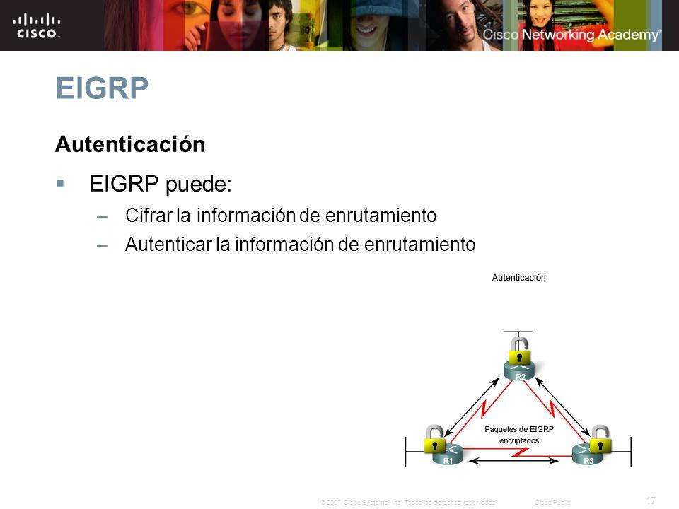 EIGRP Autenticación EIGRP puede: Cifrar la información de enrutamiento