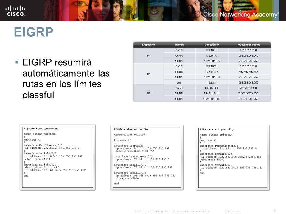 EIGRP EIGRP resumirá automáticamente las rutas en los límites classful