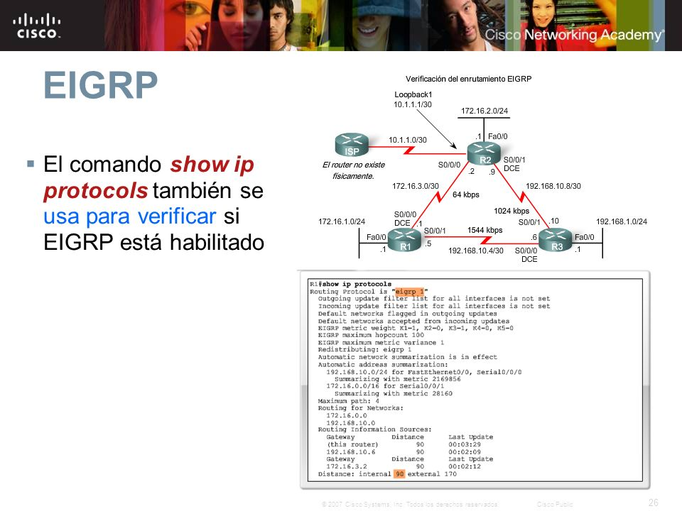 EIGRP El comando show ip protocols también se usa para verificar si EIGRP está habilitado